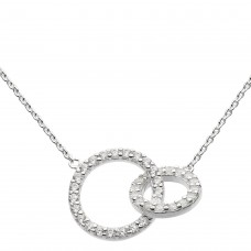 Dew Silver CZ Double Circle Necklace - NHS10