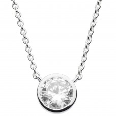 Dew Silver Round CZ Necklace