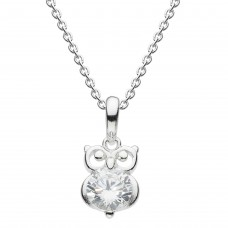 Dew Dro Dinky Small Owl With White CZ Pendant