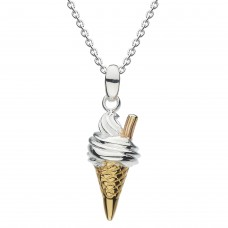 Dew Dro Ice Cream with Rose Gold Flake, Gold Plate Cone Pendant