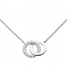 Dew Silver Double CZ Circle Necklace
