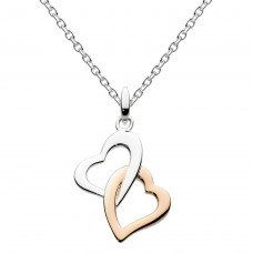 Dew Dro Interlinking Hearts with Rose Gold Plate Pendant