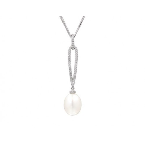 Amore Silver Pearl Drop Necklace