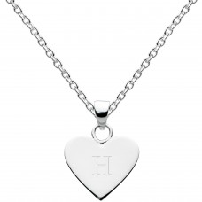 Dew Silver Dinky Heart Alphabet H Pendant