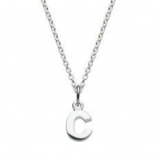 Dew Silver Dinky C Initial Pendant