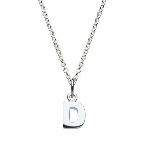 Dew Silver Dinky D Initial Pendant