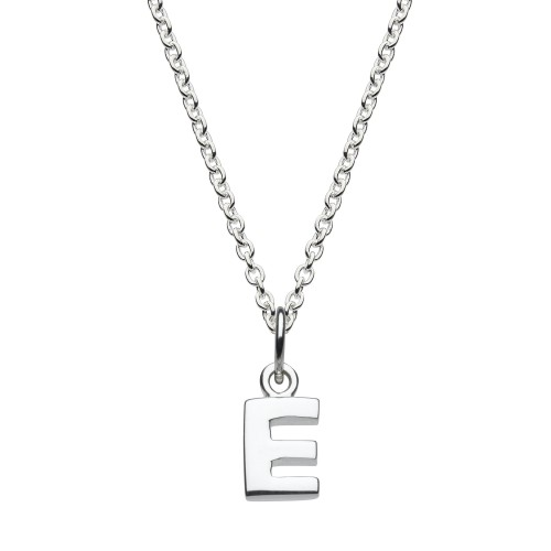 Dew Silver Dinky E Initial Pendant