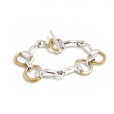 Hiho Silver Large Gold Plated Snaffle Bracelet