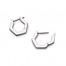 Kit Heath Silver Empire Manhattan Bar Hexagonal Hoop Earrings