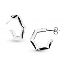 Kit Heath Silver Empire Revival Hexagonal Hoop Earrings