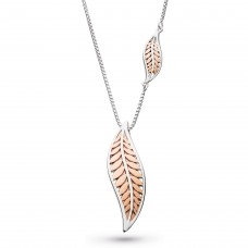 Kit Heath Silver Blossom Eden Blush Leaf Necklace
