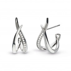 Kit Heath Silver Entwine Twine Twist Cz Stud Hoop Earrings