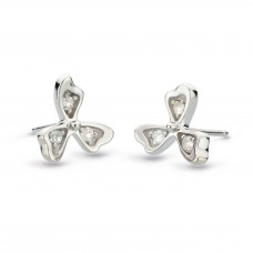 Kit Heath Silver Small Blossom Petal Bloom White Topaz Stud Earrings