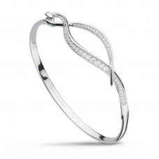 Kit Heath Silver Entwine Twine Twist Cz Bangle