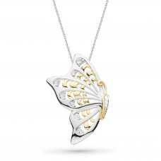 Kit Heath Silver And Gold Plate Blossom Flyte Butterfly White Topaz Necklace