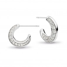Kit Heath Silver Bevel Cirque Cz Pave Semi Hoops