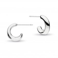 Kit Heath Silver Bevel Cirque Semi-Hoops
