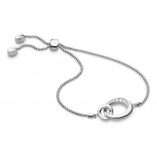 Kit Heath Silver Bevel Cirque Cz Link Toggle Bracelet