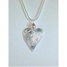 Marlene Hounam Silver Large Heart Pearl Necklace