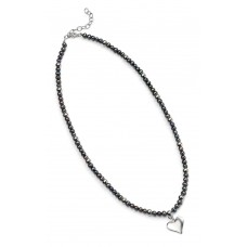 Gecko solid silver heart pendant with black pearl and silver beads