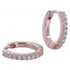 Reeves & Reeves Rose Gold Plate Cz Hoop Earrings