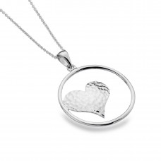 Sea Gems Silver Open Circle Pendant With Hammered Heart