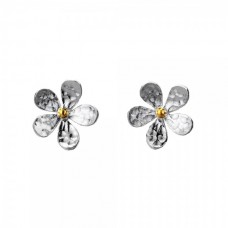Silver Medium Textured Daisy Studs