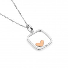 Sea Gems Silver Square Pendant With Rose Gold Heart
