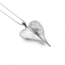 Silver Folded Heart Pendant - NHS10