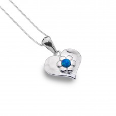 Sea Gems Solid Heart Pendant With Opal