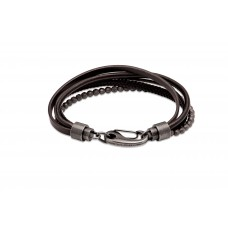 Unique Mens Black Leather And Bead Strand Bracelet