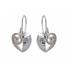 Unique Silver And Rose Gold Plated Heart Drops