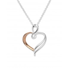 Unique Silver And Rose Gold Plated Heart Necklace