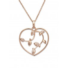 Unique Silver And Rose Gold Cz Branch Necklace