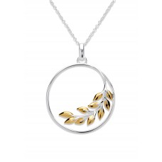 Unique Silver And Yellow Gold Plate Circle Leaf Necklace