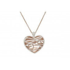 Unique Silver And Rose Gold Plate Cz Wave Heart Necklace