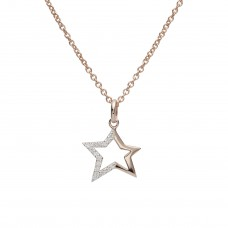 Unique Silver Rose Gold Plate Cut out Cz Star Necklace