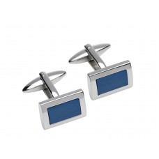 Unique Mens Stainless Steel Blue Carbon Cufflinks