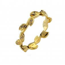 Virtue Yellow Gold Plate Olive Stacking Ring
