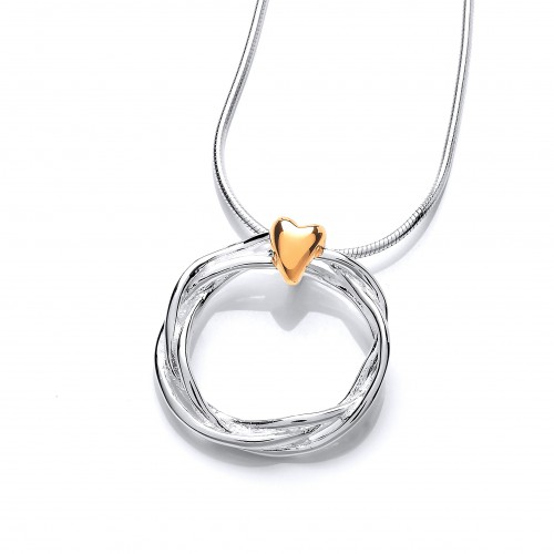 Carol Anne Silver Twisted Triple Strand Pendant with Gold Plated Heart