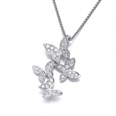 Carol Anne Silver CZ Pendant with Four Butterlfies