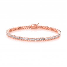 Carol Anne Silver Rose Gold Plate Brilliant Cut CZ Tennis Bracelet