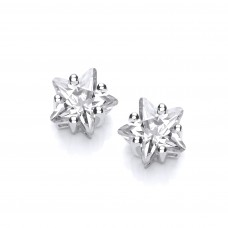 Carol Anne Silver Five Claw CZ Star Studs