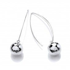 Carol Anne Silver Long Hammered Ball Drops