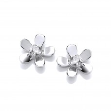 Carol Anne Silver CZ Set Five Petal Flower Studs