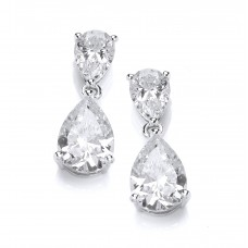 Carol Anne Silver CZ Double Teardrop Drop