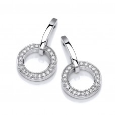 Carol Anne Silver CZ Circle Bar Drops