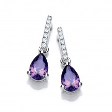 Carol Anne Silver CZ Amethyst Teardrop Drop With CZ Bail