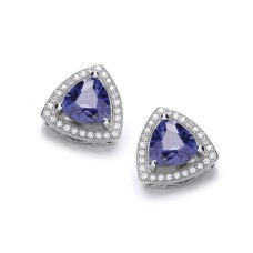 Carol Anne Silver Triangular Blue CZ Studs With CZ Surround