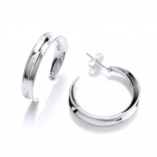 Carol Anne Silver Medium Concave Hoop Earings